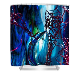 Glass Macro - The Blue Bubble Shower Curtain by David Patterson