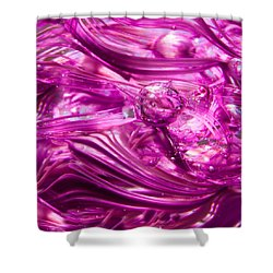 Glass Macro - Waves Of Pink Shower Curtain by David Patterson