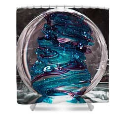 Glass Sculpture Blues And Purple Rb4 Shower Curtain by David Patterson