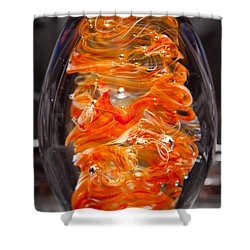Glass Sculpture Orange And White Ego1  Shower Curtain by David Patterson
