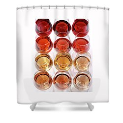 Glasses Of Rose Wine Shower Curtain by Romulo Yanes