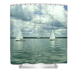 Glassy Sailing Shower Curtain by John Wartman