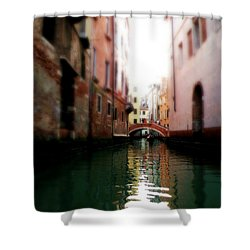 Shower Curtain featuring the photograph Gliding Along The Canal  by Micki Findlay