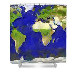 Global Map Painting Shower Curtain