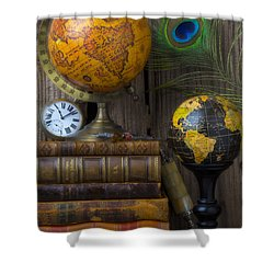 Globes And Old Books Shower Curtain by Garry Gay