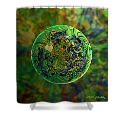 Globing Earth Irises Shower Curtain by Robin Moline