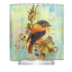 Glorious Birds On Aqua-a2 Shower Curtain by Jean Plout