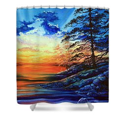 Glorious Lake Sunset Shower Curtain by Hanne Lore Koehler