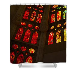 Glorious Reds And Yellows - Sagrada Familia Stained Glass Windows Shower Curtain by Georgia Mizuleva