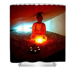 Glowing Buddha Shower Curtain