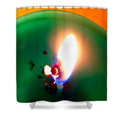 Glowing Candle Wick Shower Curtain by Justin Moore