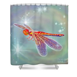 Glowing Dragonfly Shower Curtain by Audra D Lemke