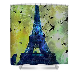 Glowing Eiffel Tower Shower Curtain