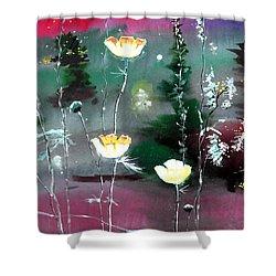 Glowing Flowers Shower Curtain by Anil Nene