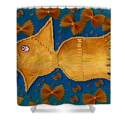 Glowing  Gold Fish Shower Curtain by Pepita Selles