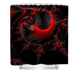 Glowing Red And Black Abstract Fractal Art Shower Curtain