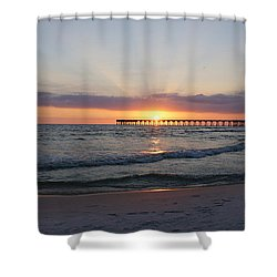 Glowing Sunset Shower Curtain by Sandy Keeton