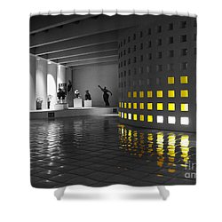 Shower Curtain featuring the photograph Glowing Wall Color Spash Black And White by Shawn O'Brien