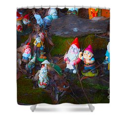 Shower Curtain featuring the photograph Gnomes On The Range by Cassandra Buckley