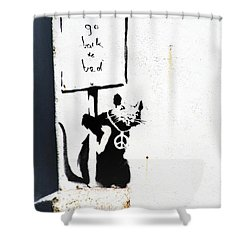 Go Back To Bed Protester Shower Curtain by A Rey