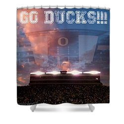 Go Ducks Shower Curtain by Anna Porter