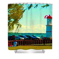 Go Fly A Kite Off A Short Pier Lachine Lighthouse Summer Scene Carole Spandau Montreal Art  Shower Curtain by Carole Spandau
