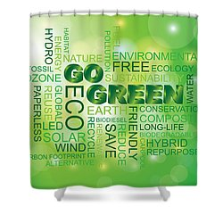 Go Green Word Cloud Green Background Shower Curtain
