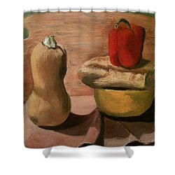 Go Vegan Shower Curtain by Mila Kronik