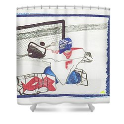 Shower Curtain featuring the drawing Goalie By Jrr by First Star Art