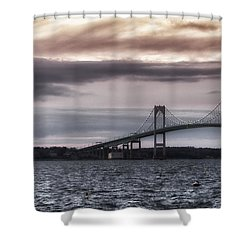 Goat Island Lighthouse And Newport Bridge Shower Curtain by Joan Carroll