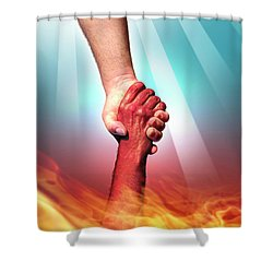 God And Devil Shower Curtain by Carlos Caetano