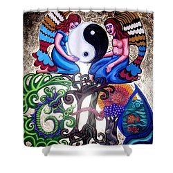 God And Gaia Shower Curtain by Genevieve Esson