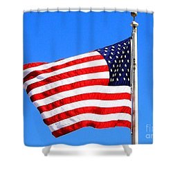 Shower Curtain featuring the photograph God Bless America by Judy Palkimas
