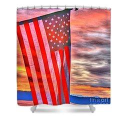 God Bless America Over Puget Sound Shower Curtain