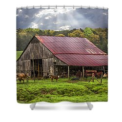 God Bless The Farmer Shower Curtain by Debra and Dave Vanderlaan