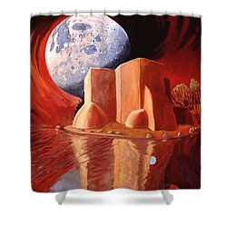Shower Curtain featuring the painting God Is In The Moon by Art James West