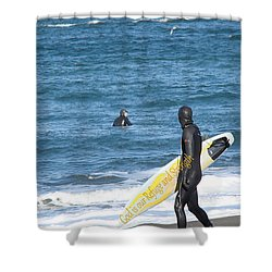 God Is Our Refuge At The Ocean Shower Curtain by Beverly Guilliams