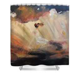 Shower Curtain featuring the painting God Is Truly Mighty by PainterArtist FIN