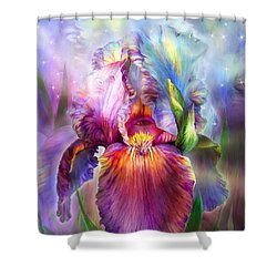 Shower Curtain featuring the mixed media Goddess Of Healing by Carol Cavalaris