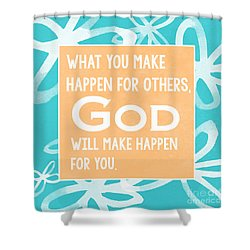 God's Gift - Blue Shower Curtain by Linda Woods