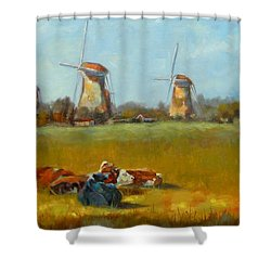 Going Dutch Shower Curtain by Chris Brandley