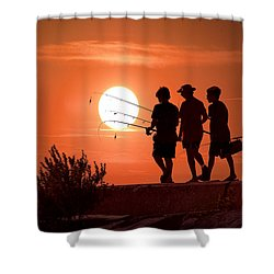 Going Fishing Shower Curtain by Randall Nyhof