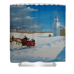 Going Home From Church Shower Curtain
