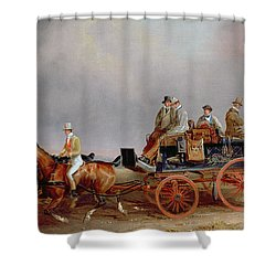 Going Shooting A Postillion And Pair With A Game Cart Shower Curtain by Charles Cooper Henderson