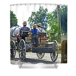 Going To Market Shower Curtain by Paul Mashburn