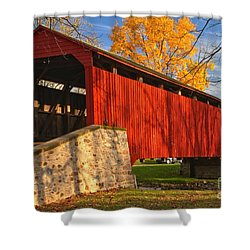 Gold Above The Poole Forge Covered Bridge Shower Curtain