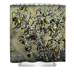 Shower Curtain featuring the photograph Gold And Gray - Silver Nightshade by Nadalyn Larsen