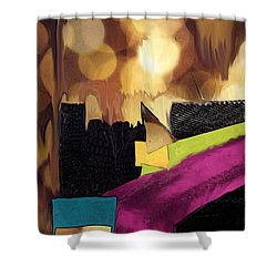 Shower Curtain featuring the mixed media Gold And Silver by Mary Bedy