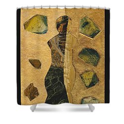 Gold Black Female Shower Curtain