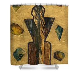 Gold Black Male Gems Shower Curtain